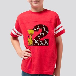 2nd birthday giraffe Youth Football Shirt