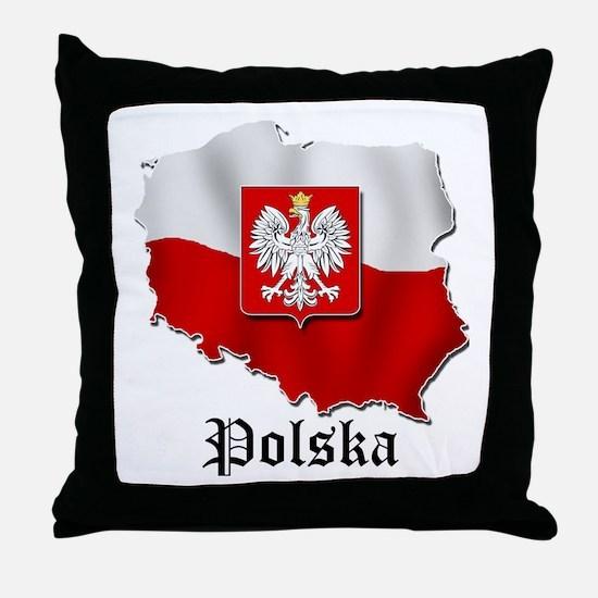 Poland flag map Throw Pillow