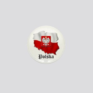 Poland flag map Mini Button