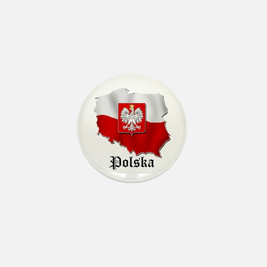 Poland flag map Mini Button