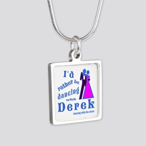 Dancing With Derek Silver Square Necklace