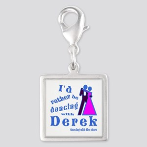 Dancing With Derek Silver Square Charm
