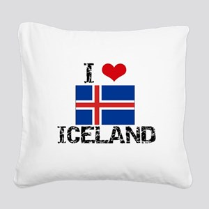 I HEART ICELAND FLAG Square Canvas Pillow