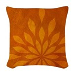 Flame Saffron Woven Throw Pillow