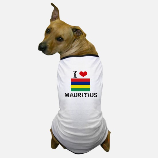 I HEART MAURITIUS FLAG Dog T-Shirt