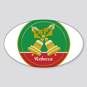 Personalized golden holly and Xmas bells Sticker