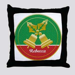 Personalized golden holly and Xmas bells Throw Pil