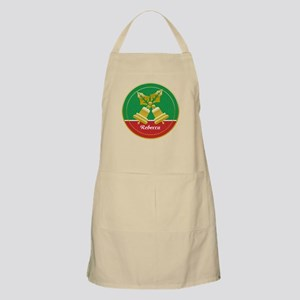 Personalized golden holly and Xmas bells Apron