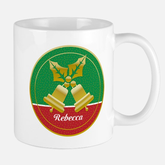 Personalized golden holly and Xmas bells Mug