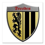 Dresden Germany Metallic Shield Square Car Magnet