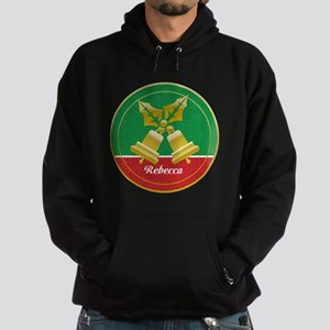 Personalized golden holly and Xmas bells Hoodie
