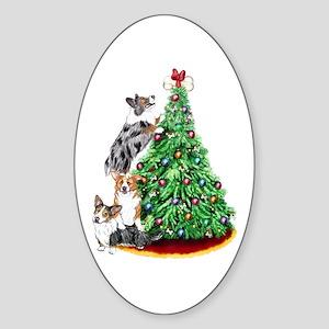 Corgi Christmas Oval Sticker