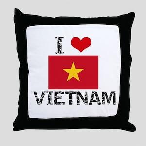 I HEART VIETNAM FLAG Throw Pillow