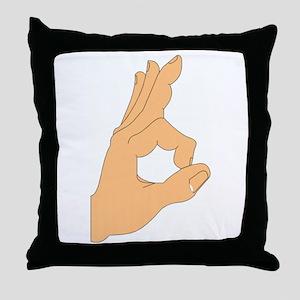Hand OK Sign Throw Pillow