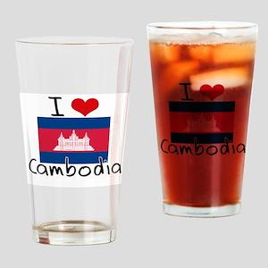 I HEART CAMBODIA FLAG Drinking Glass