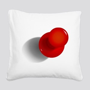 Red Push Pin Square Canvas Pillow