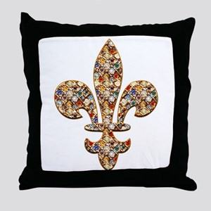 Multi-color Rhinestone Fleur Throw Pillow