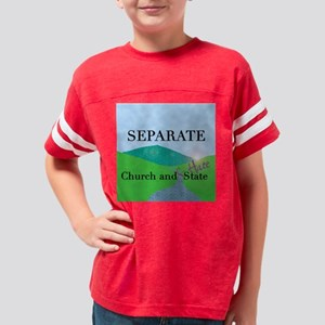 church and hate dark square Youth Football Shirt