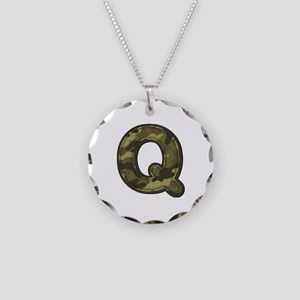 Q Army Necklace Circle Charm
