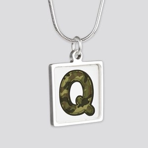 Q Army Silver Square Necklace