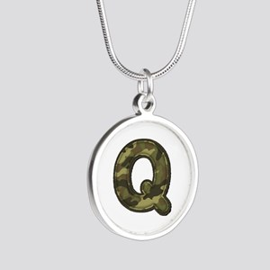 Q Army Silver Round Necklace
