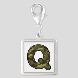 Q Army Silver Square Charm