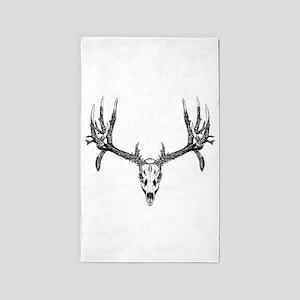 Drop tine buck skull 3'x5' Area Rug