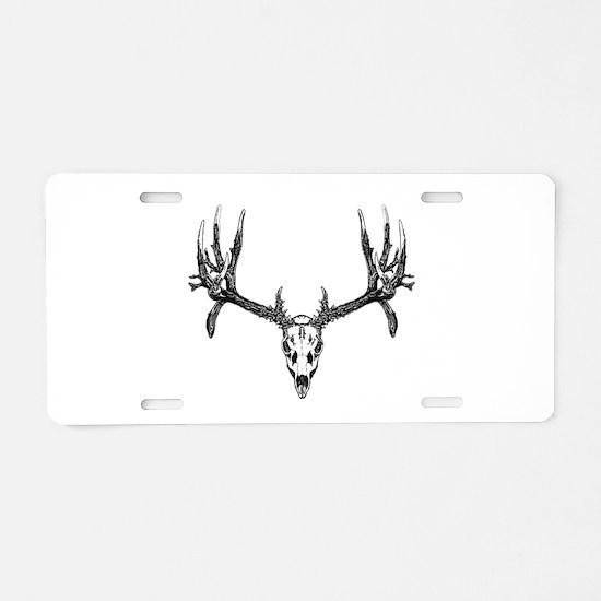 Drop tine buck skull Aluminum License Plate