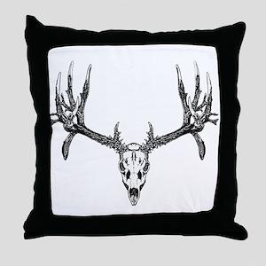 Drop tine buck skull Throw Pillow