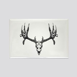 Drop tine buck skull Rectangle Magnet