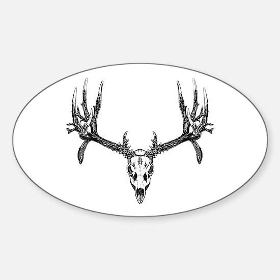Drop tine buck skull Sticker (Oval)