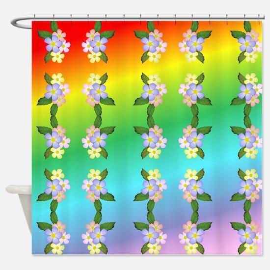 Rainbow And Flowers Shower Curtain