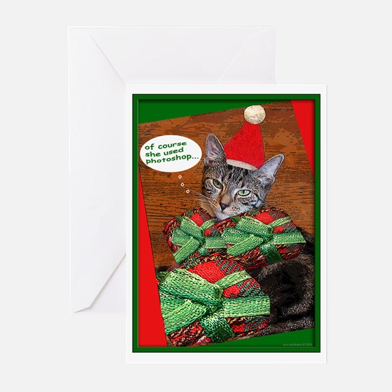 tabby cat christmas Card Greeting Cards (Pk of 10)