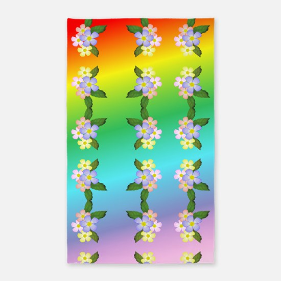 Rainbow And Flowers 3'x5' Area Rug