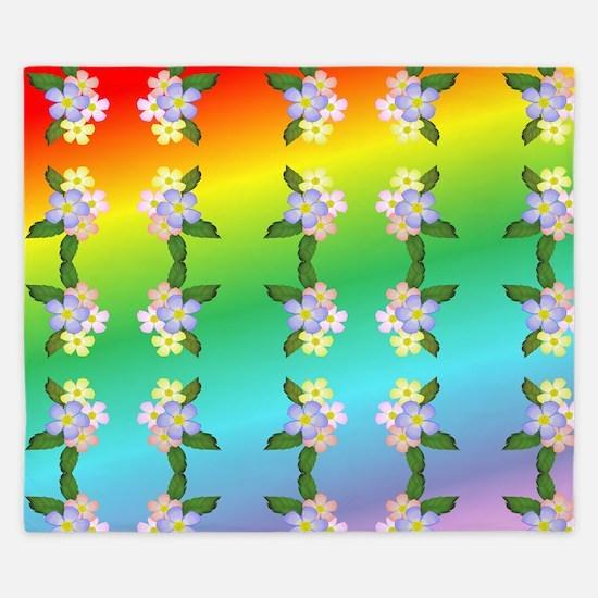 Rainbow And Flowers King Duvet