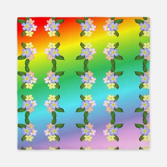 Rainbow And Flowers Queen Duvet