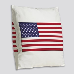 American Flag Burlap Throw Pillow