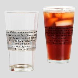 Romans 10:9 Drinking Glass