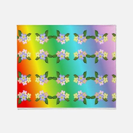 Rainbow And Flowers Throw Blanket