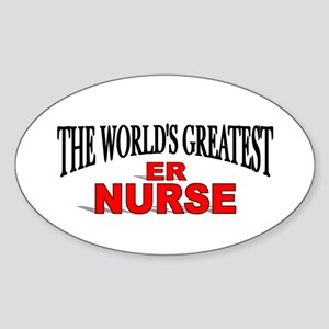 """The World's Greatest ER Nurse"" Oval Sticker"