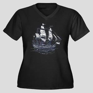 Nautical Ship Women's Plus Size V-Neck Dark T-Shir