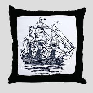 Nautical Ship Throw Pillow