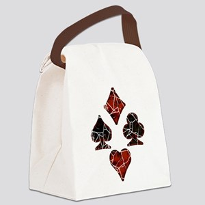 Cracked Playing Card Suits Canvas Lunch Bag