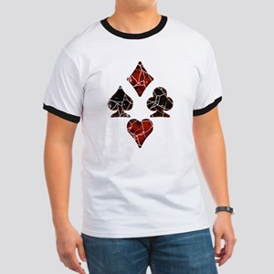 Cracked Playing Card Suits Ringer T