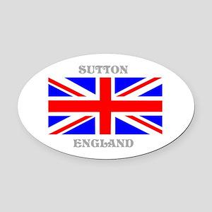 Sutton England Oval Car Magnet