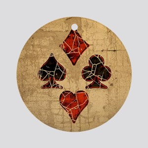 Cracked Playing Card Suits Ornament (Round)