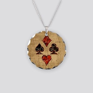 Cracked Playing Card Suits Necklace Circle Charm