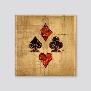"""Cracked Playing Card Suits Square Sticker 3"""" x 3"""""""