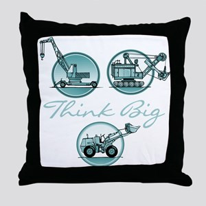 Think Big Construction Vehicles Throw Pillow