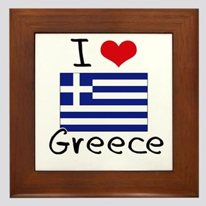 I HEART GREECE FLAG Framed Tile